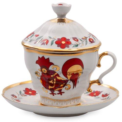 Imperial / Lomonosov Porcelain Souvenir Teacup w/ Saucer and Lid