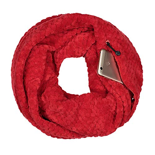 (Knitted Cable Zipper Pocketed Travel Scarf,Infinity Scarf with Pocket (Baby Fleece-Red))