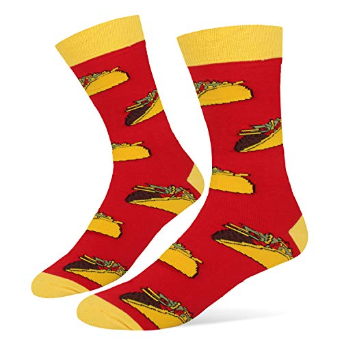 (Men's Novelty Funny Taco Crew Socks Crazy Food Cotton Dress Socks in Red)