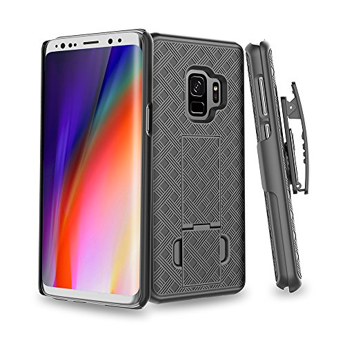 SOGA Cover for Galaxy S9 Plus Holster Belt Clip Case Slim Hard Armor Defender Protective Swivel Rotate Cover Compatible for Samsung Galaxy S9 Plus - Black