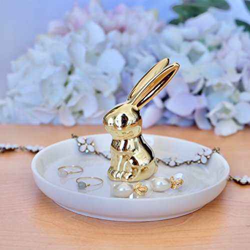 PUDDING CABIN Bunny Rabbit Ring Dish Hold for Dresser/Barthroom/Bedroom Jewelry Organizer,White