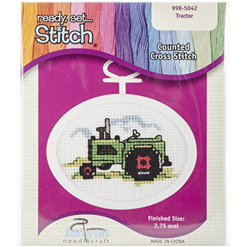 Janlynn 18 Count Oval Mini Counted Cross Stitch Kit, 2-3/4-Inch, Tractor