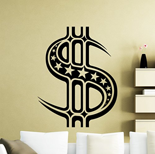 Dollar Sign Wall Decal Dollars Logo Banknote Money Business Office Vinyl Sticker Home Interior Art Decoration Any Room Mural Waterproof Vinyl Sticker (269xx)