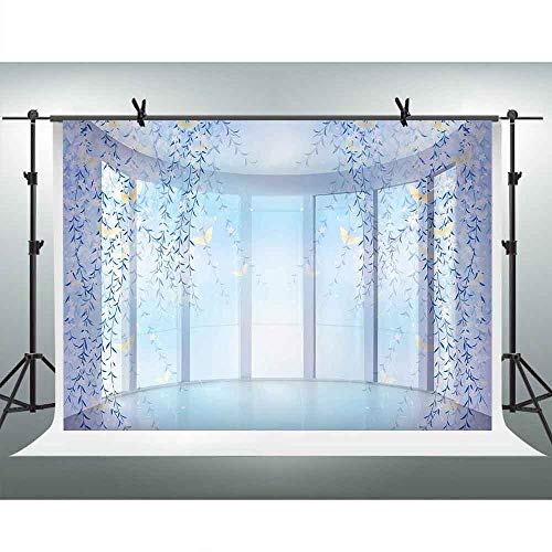 FHZON 10x7ft Wedding Themed Party Photo Backdrop Window Leaf Butterfly Photography Background Wallpaper Decoration Video Studio Booth Props LXFH975 ()