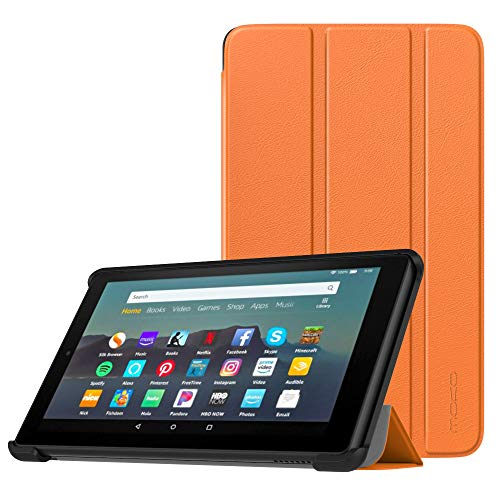 MoKo Case Fits All-New Amazon Fire 7 Tablet (9th Generation, 2019 Release), Lightweight Slim Shell Shockproof Back Stand Cover with Auto Wake/Sleep - Orange (7 Tablet Cases Orange)