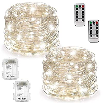 Fairy Lights Fairy String Lights Battery Operated Waterproof 8 Modes 100 LED 33ft String Lights Copper Wire 2 Set Firefly Lights with Remote Control(Timer) for Bedroom Wedding Festival Decor