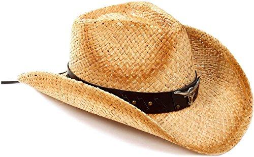 AbbyLexi Cowboy Cowgirl Straw Hat Wide Brim Beach Sun Hats For Kids, Bull