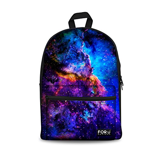 FOR U DESIGNS Cool Galaxy Print Girls Boys Kids Light Canvas School Laptop Bag