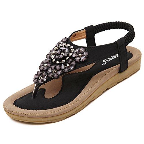Btrada Mujeres Summer Sandals Bohemia Rhinestone Flower Slip On Chancletas Zapatos Planos Negro