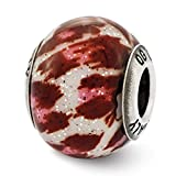 ICE CARATS 925 Sterling Silver Charm For Bracelet Italian Pink Brown Glitter Glass Bead Overlay Designed Glas Fine Jewelry Ideal Gifts For Women Gift Set From Heart