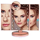 10x3x2x Led Lighted Makeup Mirror 10X 3X 2X 1X Magnifying Mirror 21 LED Tri-Fold Vanity Mirror with Touch Screen and 180° Adjustable Stand, Brightness Travel Beauty Mirror