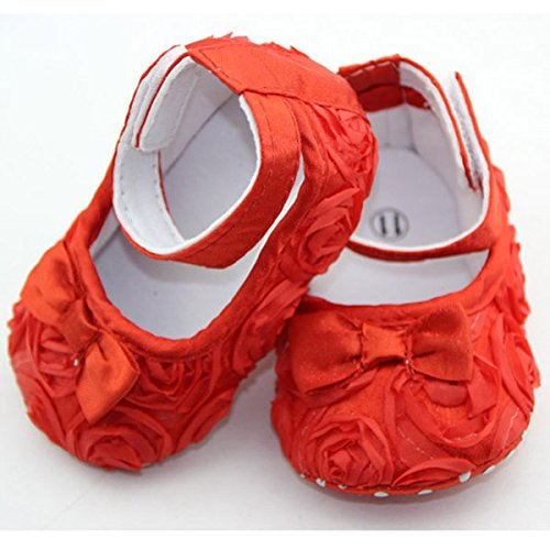 Cute Chaussures d'Enfant Style de Rose Comfortable Princess Floral de Rouge 12cm
