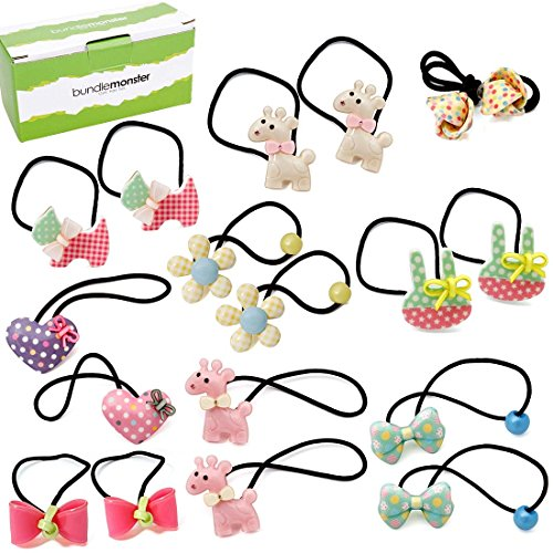 Crochet Heart Pin (Bundle Monster 9 pair Baby Girls Hard Animal Elastic Band Hair Tie Accessory Set)
