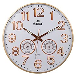 SkyNature 15 Inch Round Wall Clock Luminous Numerals Easy to Read Silent Non-Ticking Night Light with Temperature and Hygrometer [New Style Ultra-thin Frame Rose Gold]