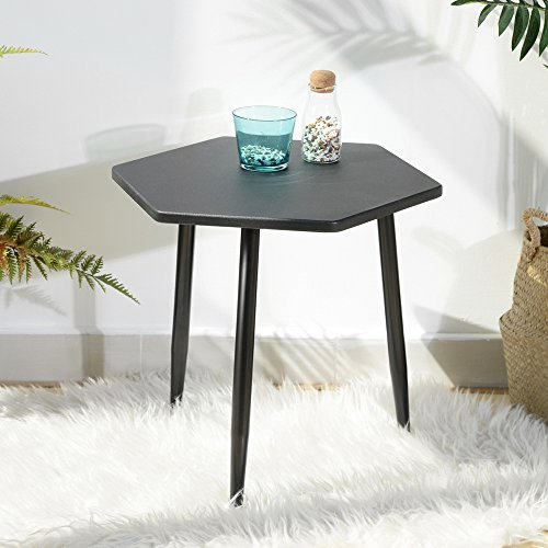 GreenForest Modern Coffee Table 16'' MDF Nesting End Table with Metal Tube, Stackable Tea Table Corner Table Sofa Snack Table for Living Room Bedroom Night Stand (Black)