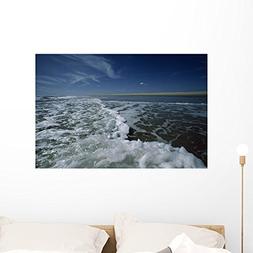 Foamy Atlantic Surf Foreground Wall Mural by Wallmonkeys Peel and Stick Graphic (36 in W x 24 in H) ()