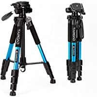 Tairoad T1-111 Travel Camera Tripod Lightweight with Carry Case - 3 Way Fluid Panhead - Quick adjustment Flip Locks - Compatible with Compact and Mirrorless Nikon Canon Sony Cameras - Blue
