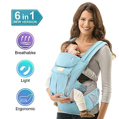 Pansonite Baby Carrier with Hip Seat, 6-in-1 Convertible Carrier, The Complete All Seasons 360 Ergonomic Baby & Child Carrier Backpack, Fit for Newborn to Toddler (Cotton) from Pansonite