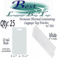 10 mil Premium Luggage Tag with Slot Laminating Pouches 2 1/2 x 4 1/4 & 6 Loops Straps Worms -- Qty: 25 (White)