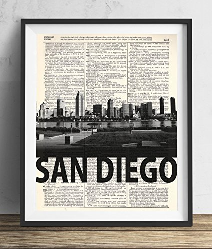San Diego Skyline With Bold Name Dictionary Art Print 8x10