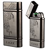 Kivors USB Rechargeable Windproof Arc Lighter Flameless Electronic Arc Lighter Plasma Arc Pulse Cigarette Metal Lighter (Eagle Grey)