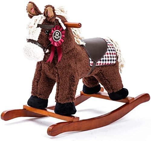 Caballito Balancín Rockers Ride-Ons Maqueo de madera Caballo niño bebé for 1-4 años niñas niñas niño lindo relleno de asiento de peluche silla de asiento for niños rocker asiento suave rocker music ju