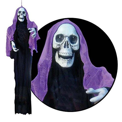 Lifesize 6ft Hanging Reaper Halloween Prop - Lights Up Spooky ()