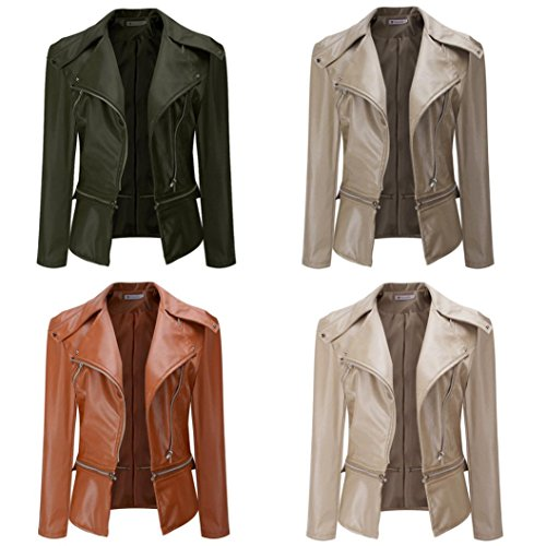 (Womens Faux Leather Jacket, Hunputa Vintage Slim Motorcycle Women Jackets Bomber PU Soft Leather Zip Jacket Coat (US XS, Brown))