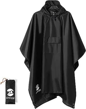 SaphiRose Multifunctional Mens Womens Rain Poncho Waterproof Outdoor Raincoat(Black)