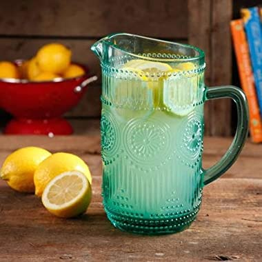 The Pioneer Woman Adeline 1.59-Liter Turquoise Glass Pitcher, Dishwasher Safe