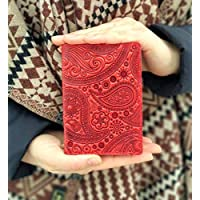 Real Leather Paisley Passport Cover Full Grain Leather Passport Holder Handmade Travel Wallet ID Cover Red Case Gift Red Wallet Red Cover