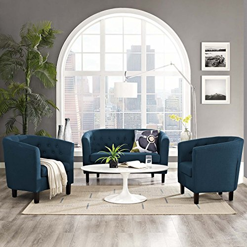 Modway EEI-3149-AZU-SET Prospect Upholstered Fabric Living Room, Loveseat and Two Armchairs Set, Azure