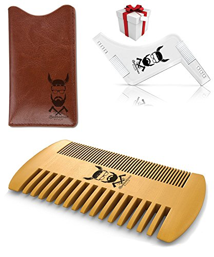BEST DEAL, Pocket Wooden Beard Comb & All-in-one Beard Shaping Template Tool for Edging & Shaving, Beard, Mustache, Hair Line up and Styling New beard set by iBarbarian