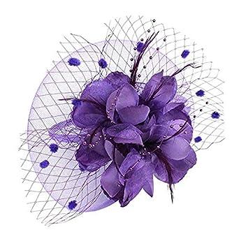 Feather Mesh Net Veil Hat Flower Derby Hat for Women Fascinators Hat Flower