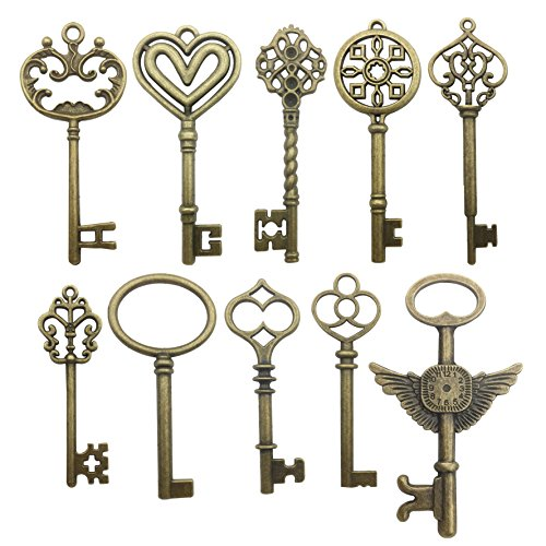 20pcs Craft Supplies Mixed Bronze Skeleton Key Charms Pendants for Crafting, Jewelry Findings Making Accessory For DIY Necklace Bracelet Earrings (Bronze key charms)