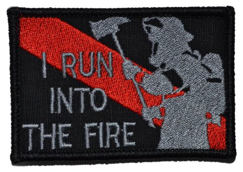 Firefighter/Run Into the Fire Thin Red Line 2x3 Morale Patch (Black) -