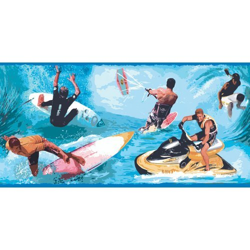 Decorate By Color BC1580681 Primary Colored Water Sports Border by Decorate By Color Wallcovering Primary