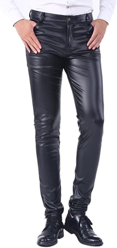 Idopy Men`s Business Slim Fit Faux Leather Pants Jeans Trousers Casual Pants