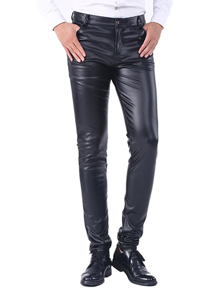 Idopy pantaloni sottili di cuoio di estate degli uomini hanno inverno i jeans dell'unità di elaborazione dei pantaloni di spessore