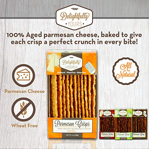 Delightfully Yours Parmesan Cheese Crisps- (VARIETY 4 PACK) - Parmesan Crisps - Keto Crackers - Cheese Crisps Low Carb Keto - Parmesan Chips Made Of Just Cheese - Keto Cheese Crisps - Cheese Chips 3
