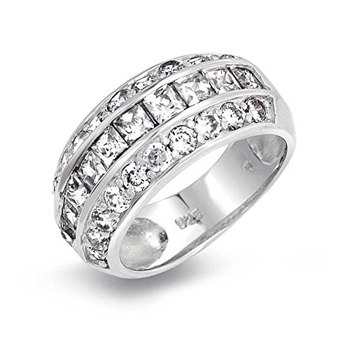 Princess Cut Pave Round Wide CZ Dome Sterling Silver ()