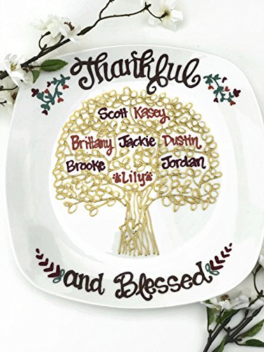 Personalized Hand Painted - Thanksgiving Family Tree Plate
