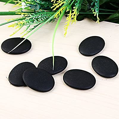 Large Massage Stones with Warmer, 7 Piece Black Basalt Hot Stone Set for Legs, Body, Face, Back, Health Care Therapy, Wellness and Relaxation, Spa Rocks