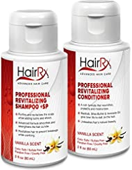 HairRx Professional Revitalizing Shampoo +SP (for Oily Scalps) & Conditioner Travel Set, Luxurious Lather, Vanilla Scent, 2 Ounce Bottles
