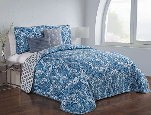 Avondale Manor Dominica 5-Piece Quilt Set, King, Blue (Clearance Quilt King)