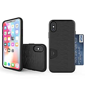 iPhone X Case, Molan Cano [Crazy Bumper] Dual Layer PU Case Wallet Cover with 1 Card Slot for Apple iPhone X - Metallic Black