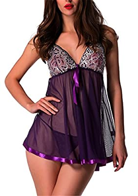 Avidlove Women's Lingerie Lace Babydoll Sleepwear Lace Splicing Chemises