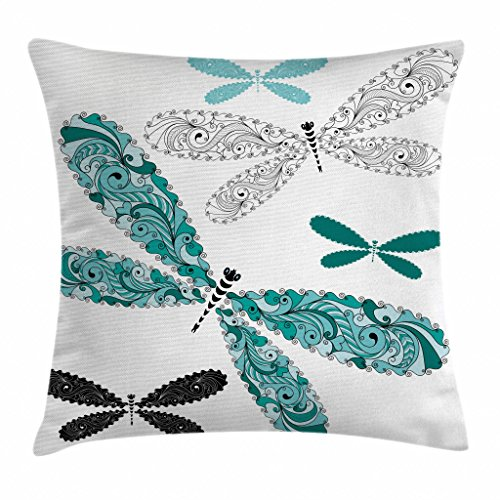 Ambesonne Dragonfly Throw Pillow Cushion Cover, Ornamental Dragonfly Figures with Lace and Damask Effects Artsy Image, Decorative Square Accent Pillow Case, 16 X 16 Inches, Teal Turquoise Black