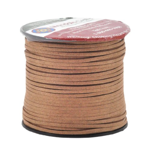 Mandala Crafts 100 Yards 2.65mm Wide Jewelry Making Flat Micro Fiber Lace Faux Suede Leather Cord (Brown)