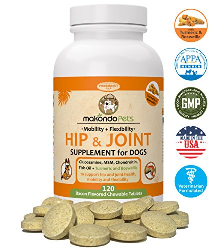 - Makondo Pets Hip and Joint Supplement with Glucosamine for Dogs, Turmeric, Chondroitin, MSM, Vitamins, Fish Oil and Natural Boswellia - Get The Best Joint Supplement for Dogs